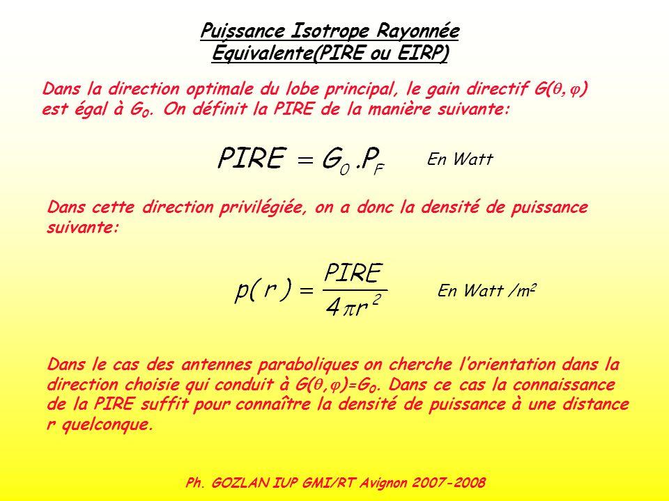 Puissance Isotrope Rayonnée Équivalente(PIRE ou EIRP)