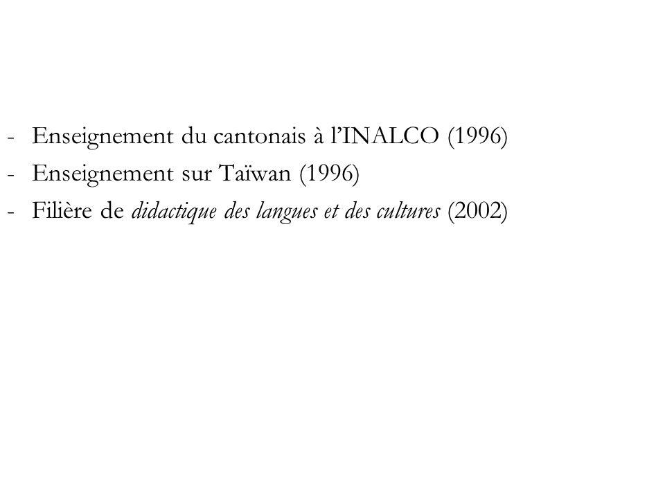 Enseignement du cantonais à l'INALCO (1996)