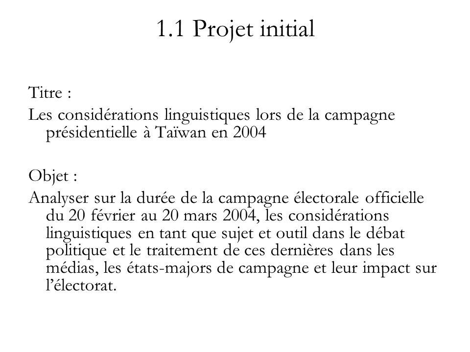 1.1 Projet initial Titre : Les considérations linguistiques lors de la campagne présidentielle à Taïwan en 2004.