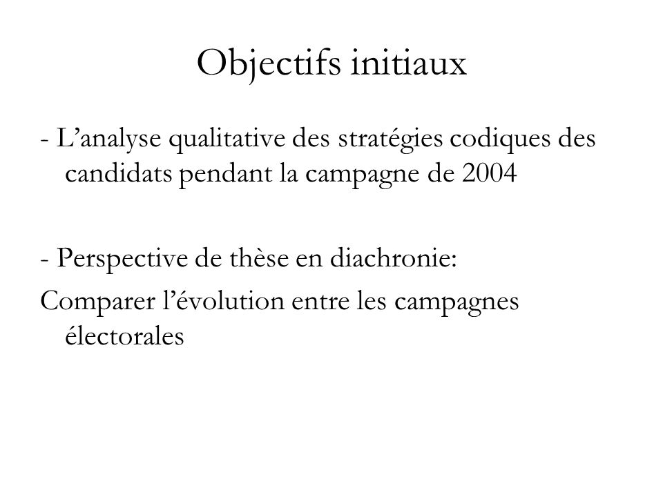 Objectifs initiaux - L'analyse qualitative des stratégies codiques des candidats pendant la campagne de 2004.