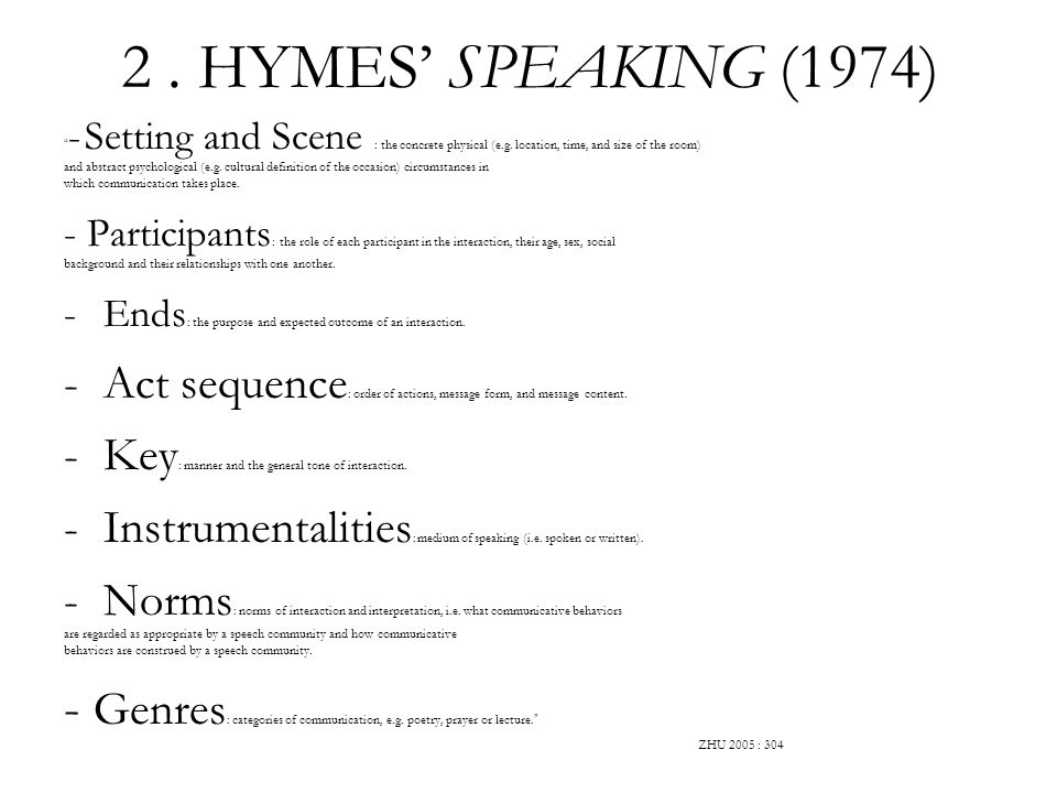 2 . HYMES' SPEAKING (1974) - Setting and Scene : the concrete physical (e.g. location, time, and size of the room)