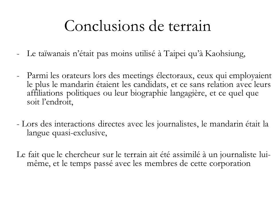 Conclusions de terrain