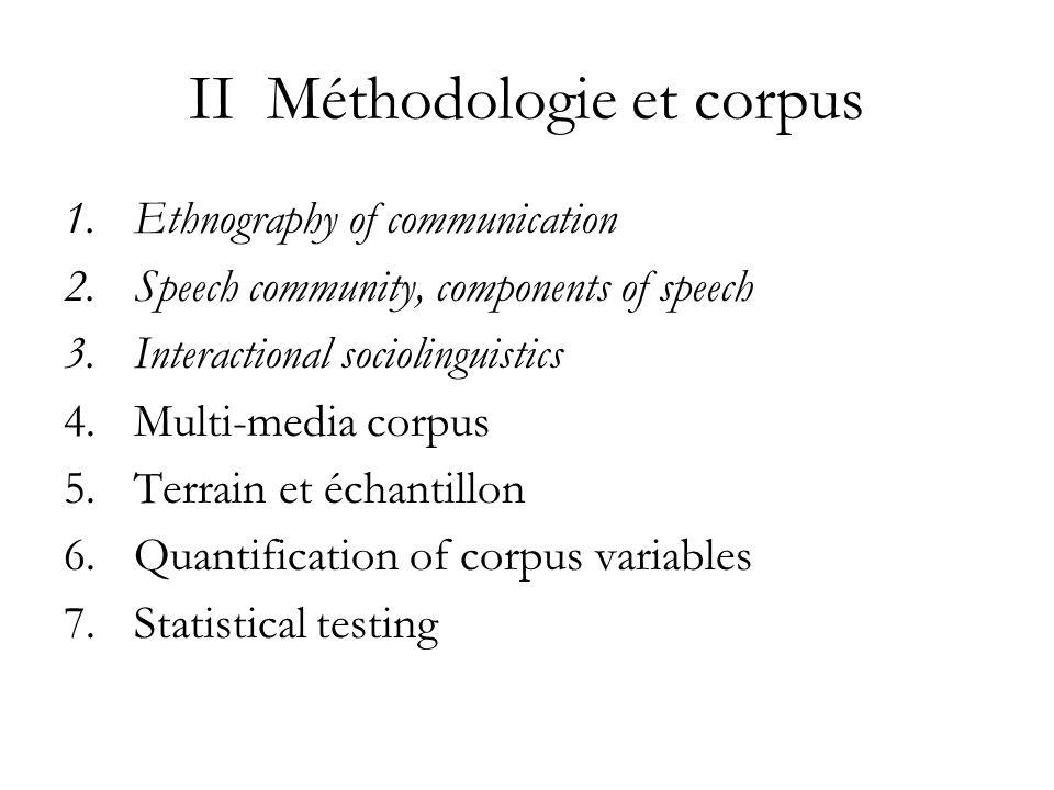 II Méthodologie et corpus