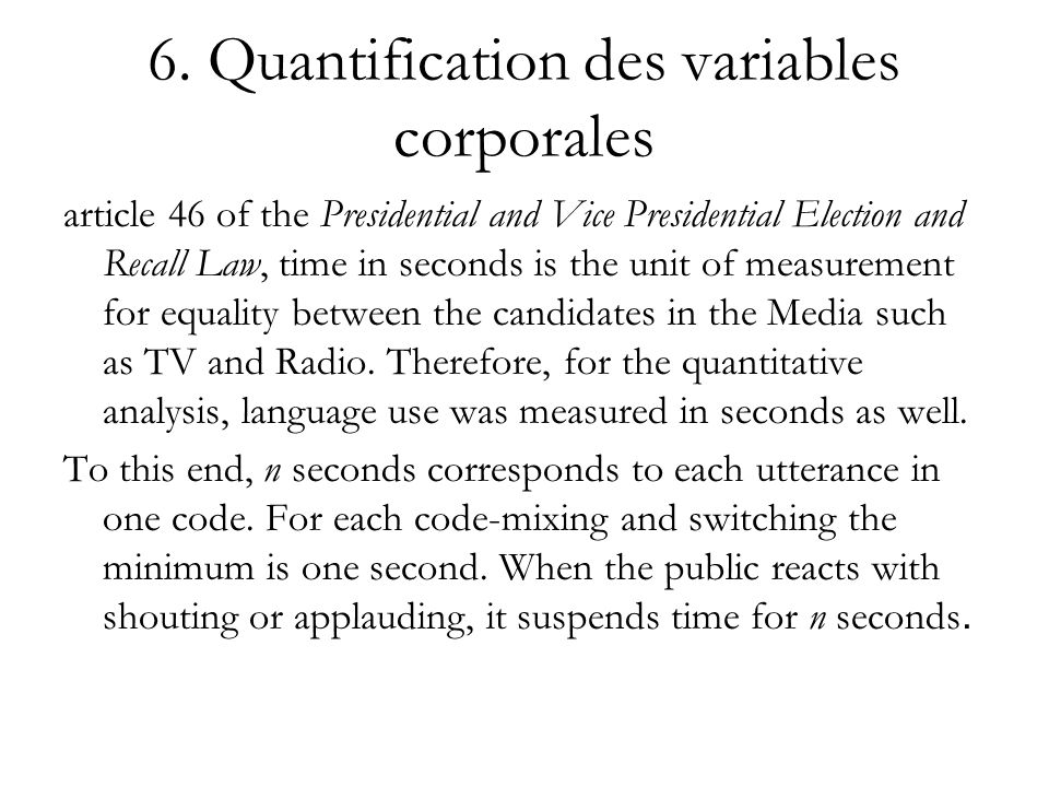 6. Quantification des variables corporales