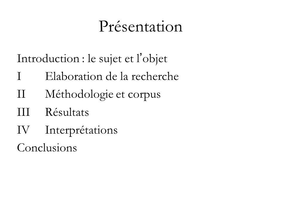 Présentation Introduction : le sujet et l'objet