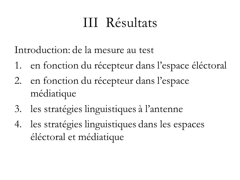 III Résultats Introduction: de la mesure au test