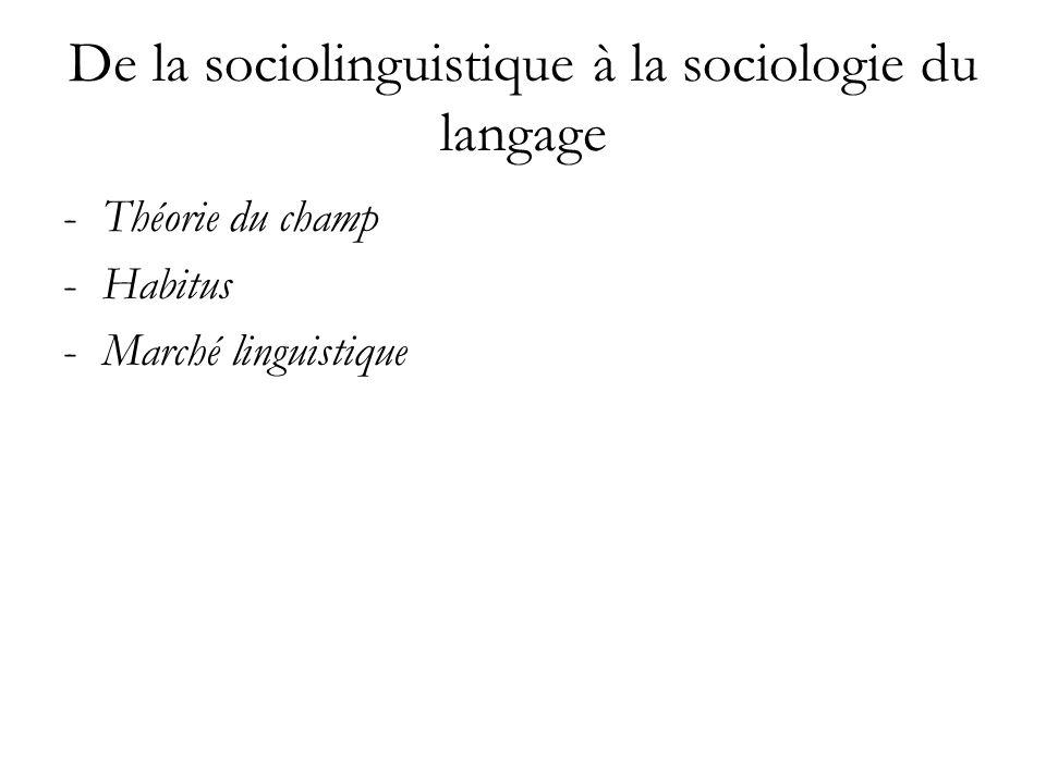 De la sociolinguistique à la sociologie du langage