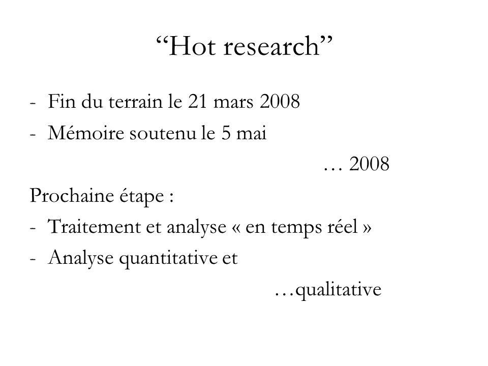 Hot research Fin du terrain le 21 mars 2008 Mémoire soutenu le 5 mai
