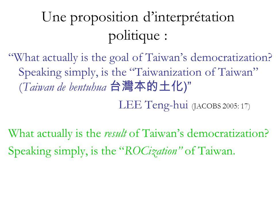 Une proposition d'interprétation politique :