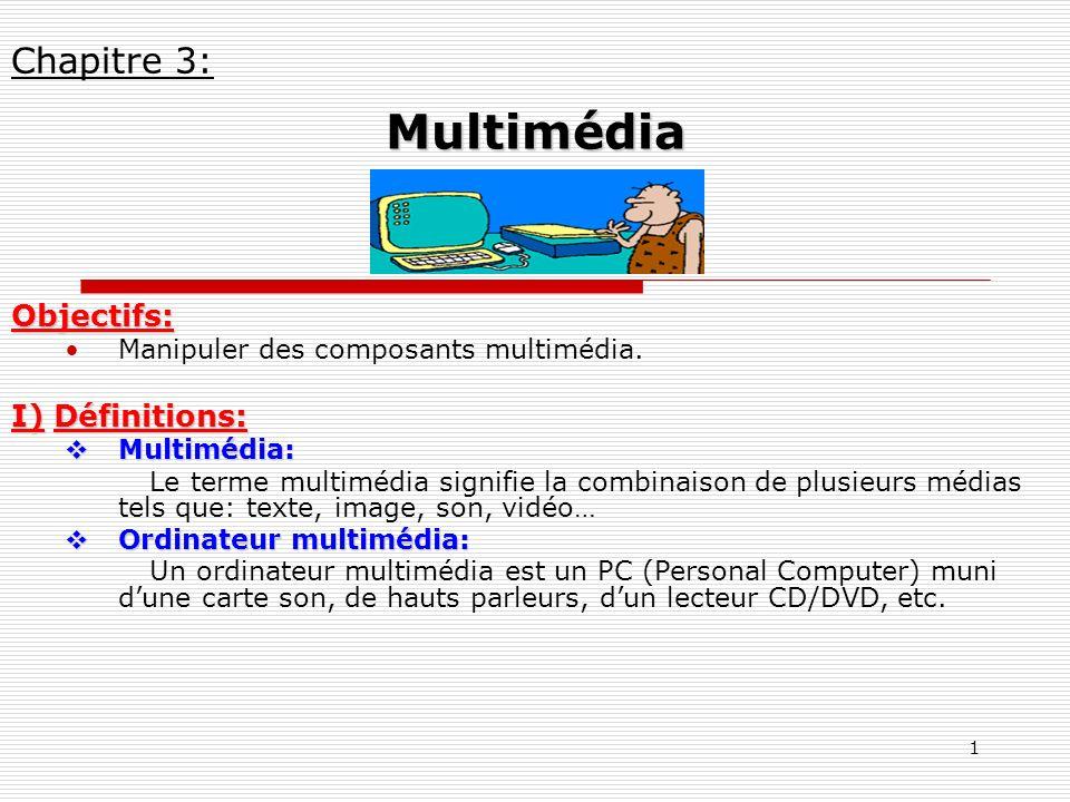 Multimédia Chapitre 3: Objectifs: I) Définitions: