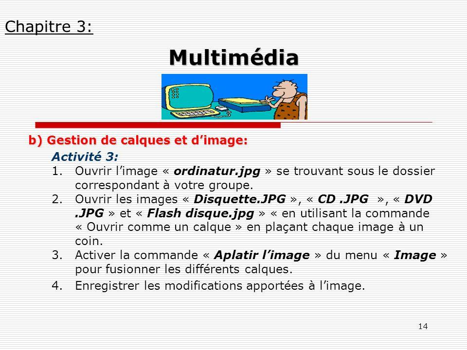 Multimédia Chapitre 3: b) Gestion de calques et d'image: Activité 3: