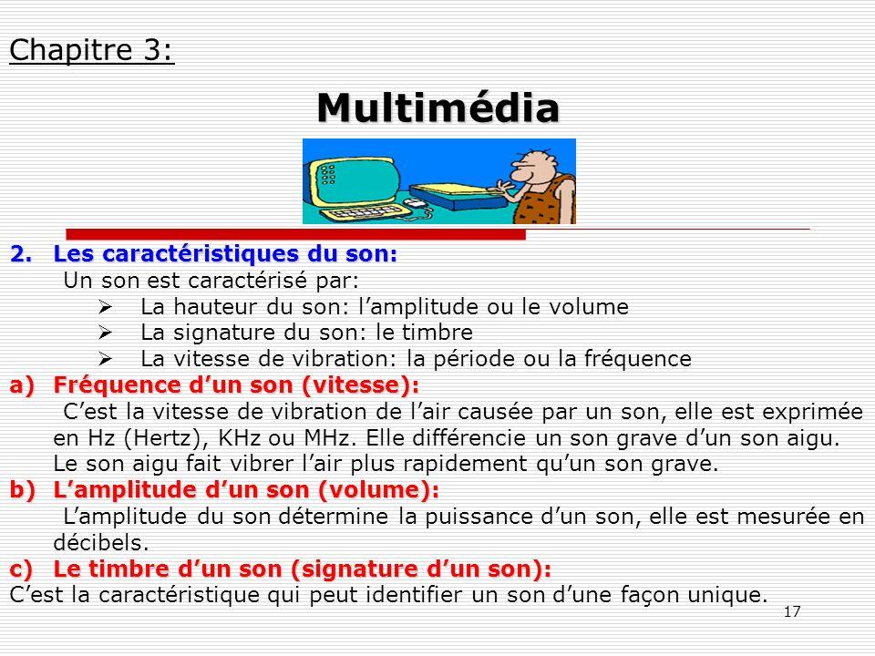Multimédia Chapitre 3: Les caractéristiques du son: