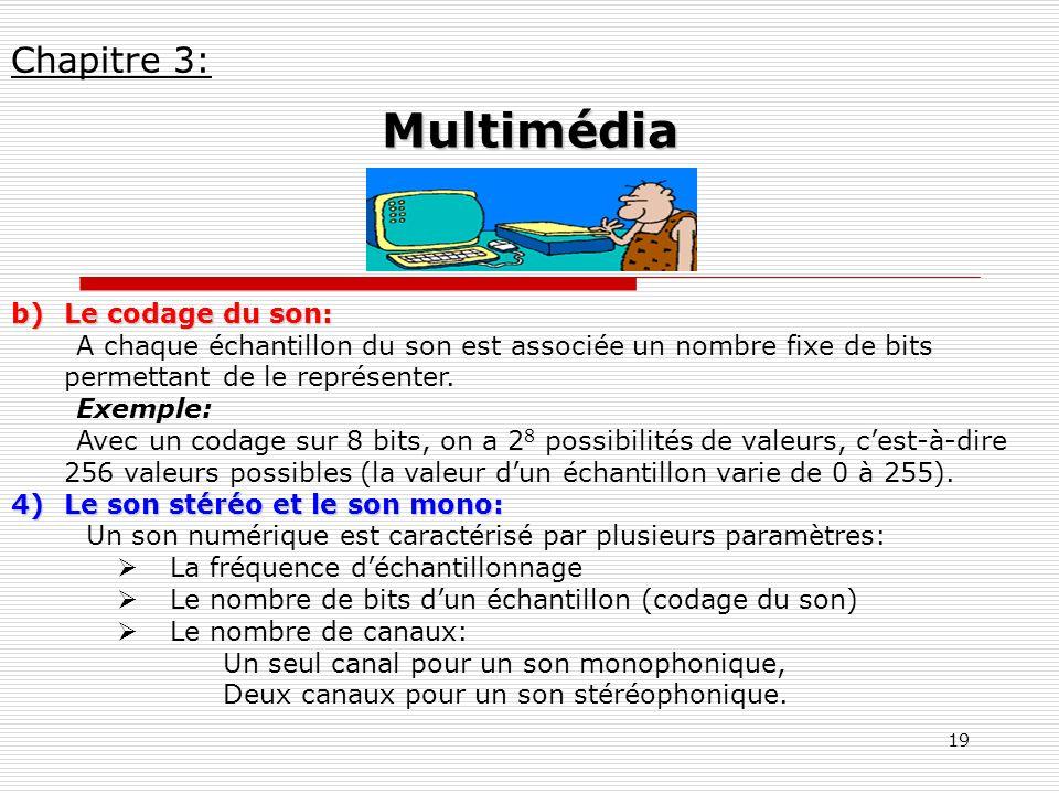 Multimédia Chapitre 3: Le codage du son: