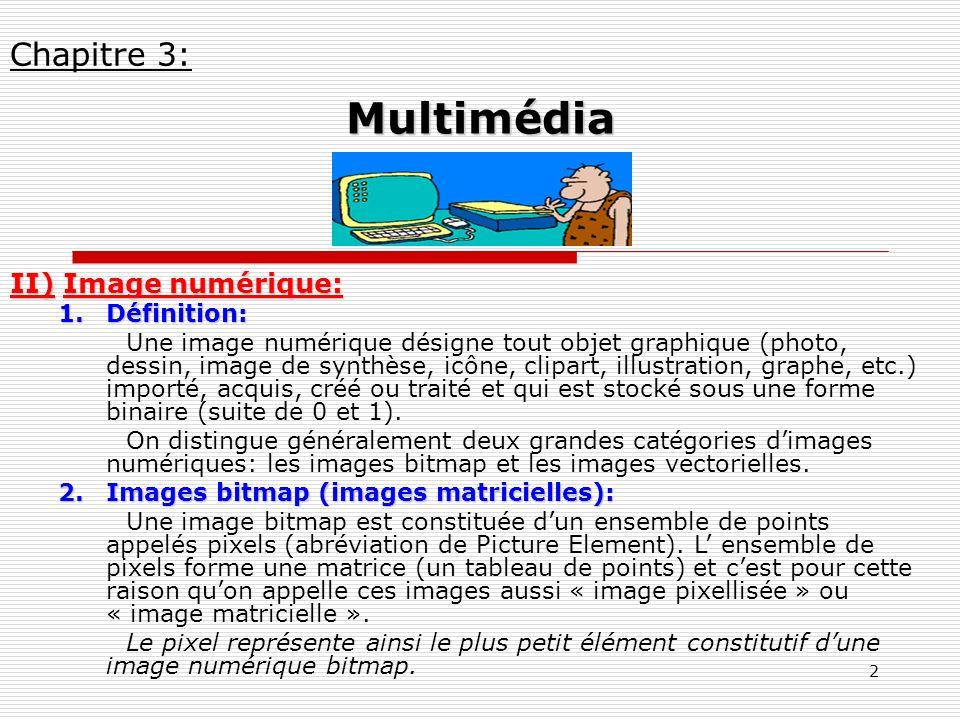 Multimédia Chapitre 3: II) Image numérique: Définition: