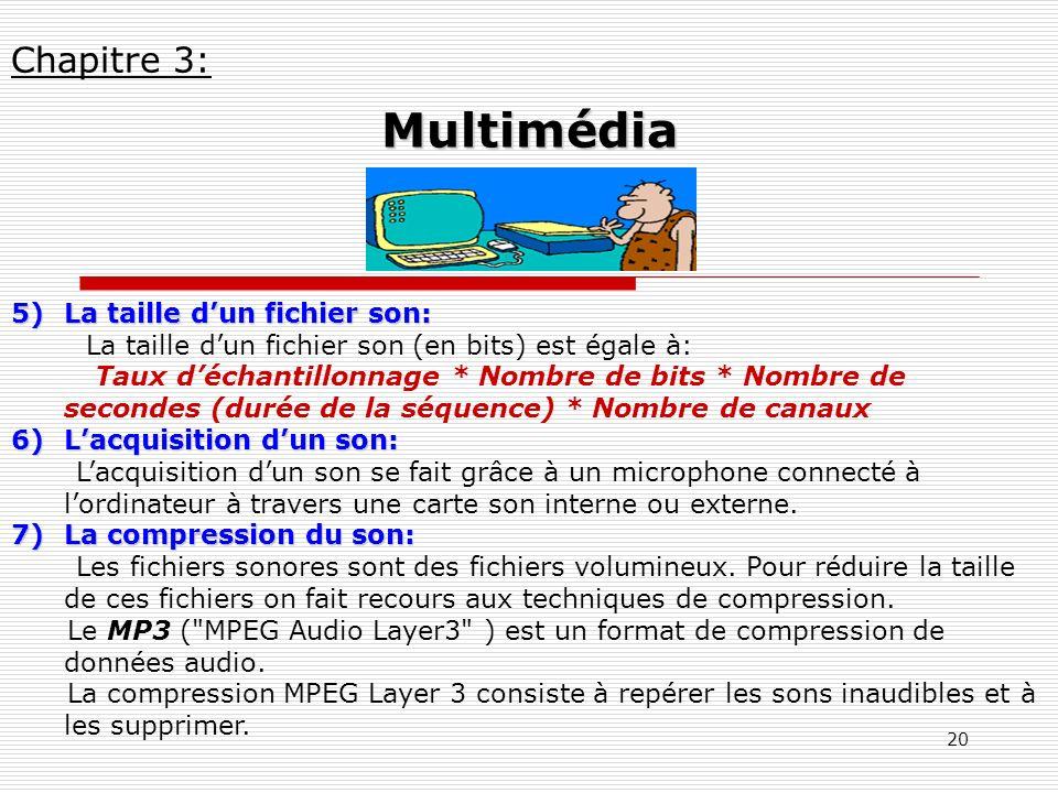 Multimédia Chapitre 3: La taille d'un fichier son:
