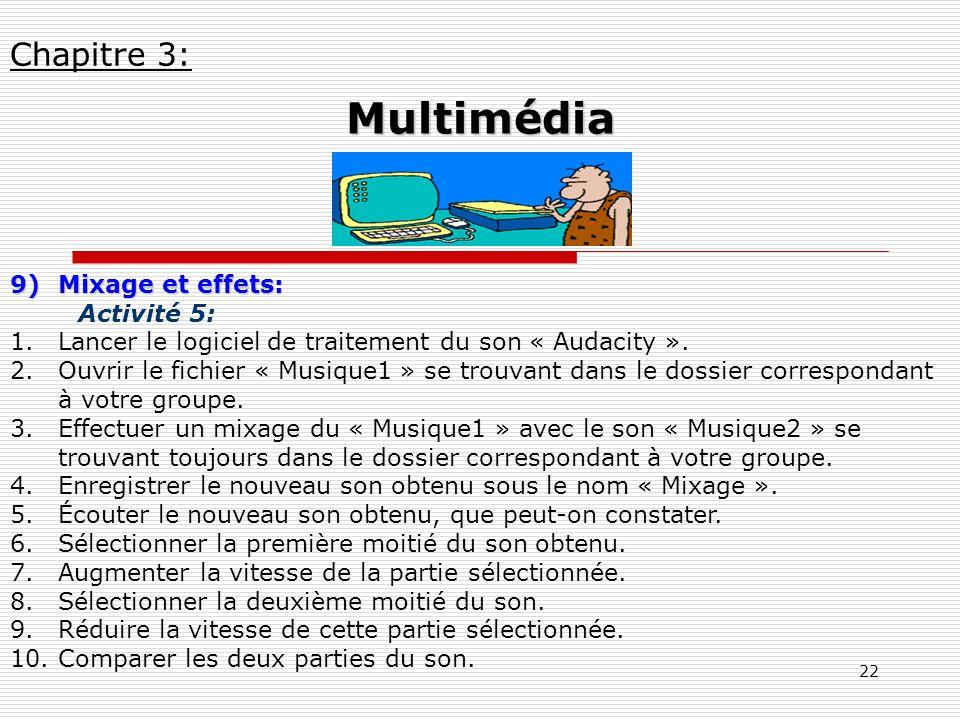 Multimédia Chapitre 3: Mixage et effets: Activité 5: