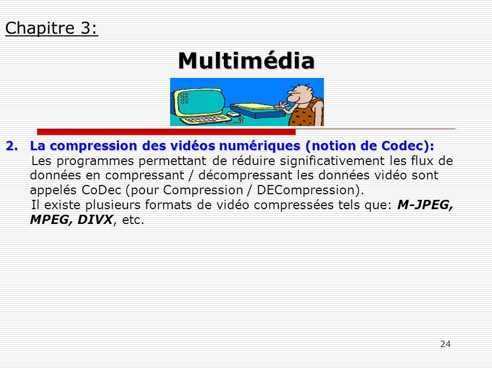 Chapitre 3: Multimédia. La compression des vidéos numériques (notion de Codec):