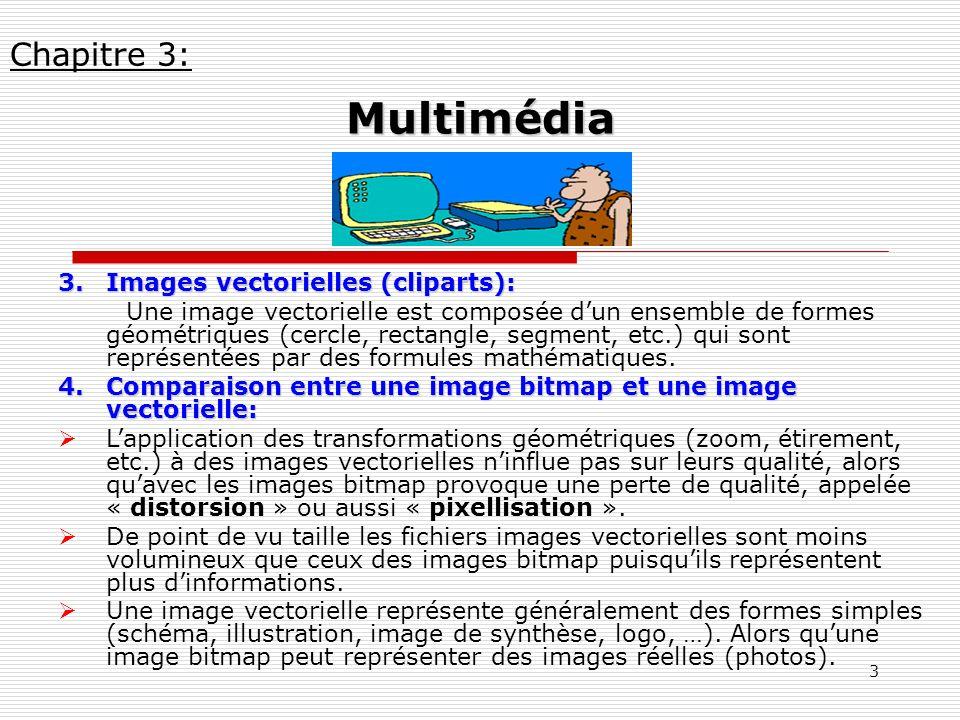 Multimédia Chapitre 3: Images vectorielles (cliparts):