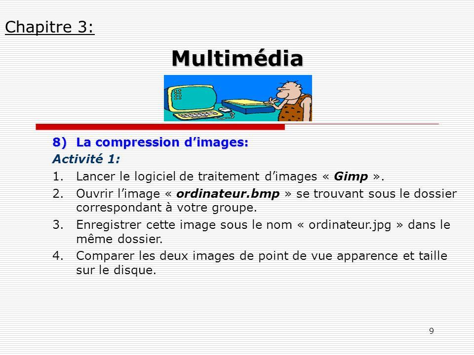 Multimédia Chapitre 3: La compression d'images: Activité 1: