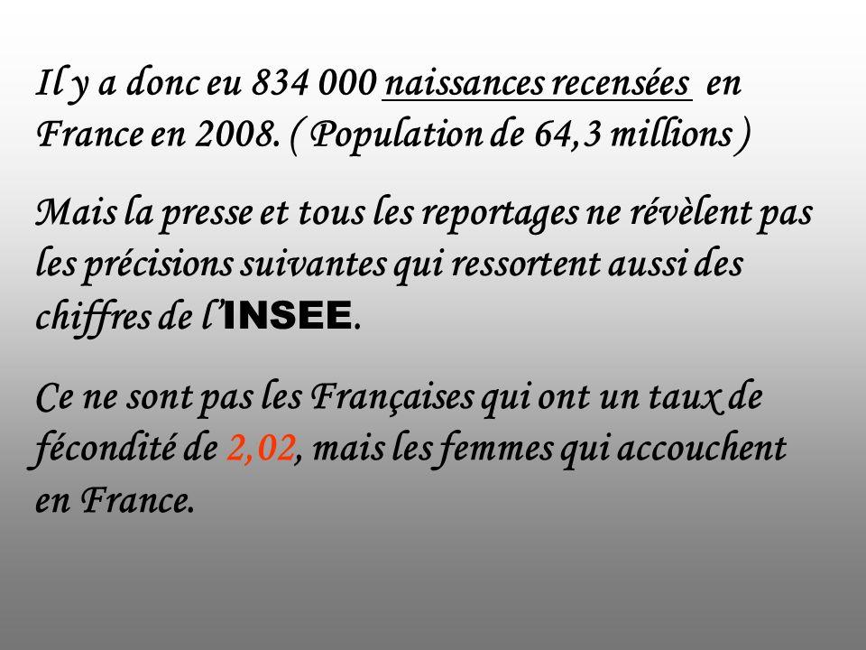 Il y a donc eu 834 000 naissances recensées en France en 2008
