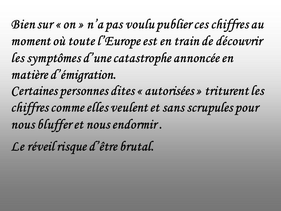Bien sur « on » n'a pas voulu publier ces chiffres au moment où toute l'Europe est en train de découvrir les symptômes d'une catastrophe annoncée en matière d'émigration.