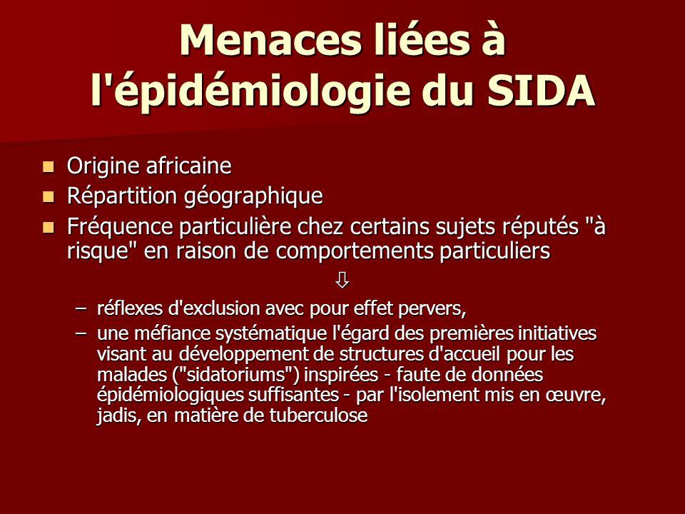 Menaces liées à l épidémiologie du SIDA