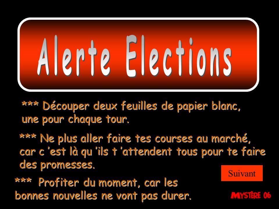 Alerte Elections *** Découper deux feuilles de papier blanc, une pour chaque tour.