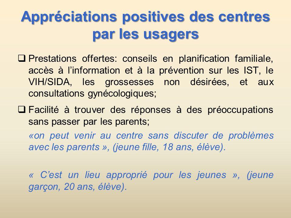Appréciations positives des centres par les usagers