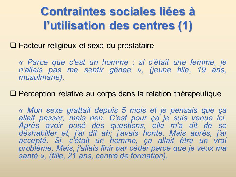 Contraintes sociales liées à l'utilisation des centres (1)