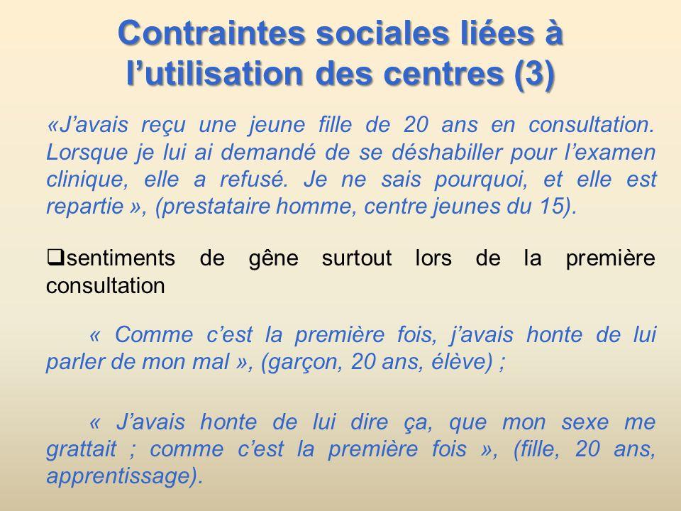 Contraintes sociales liées à l'utilisation des centres (3)