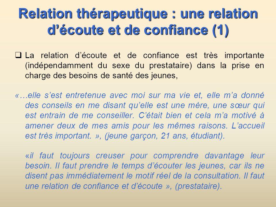 Relation thérapeutique : une relation d'écoute et de confiance (1)