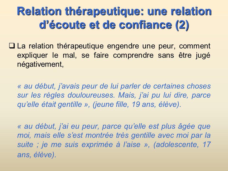 Relation thérapeutique: une relation d'écoute et de confiance (2)