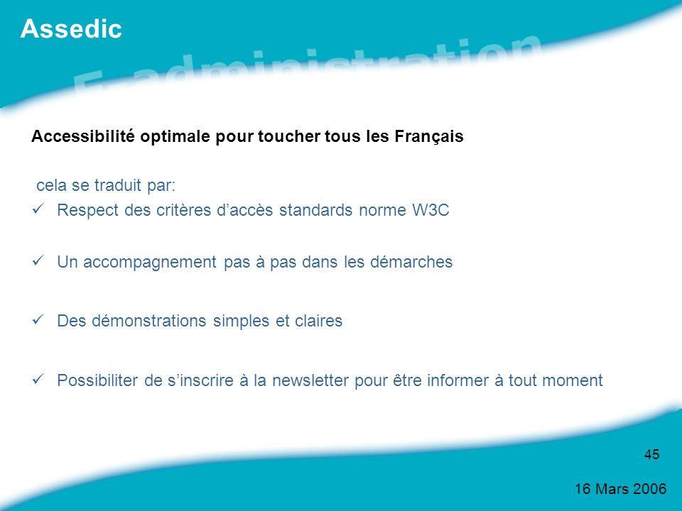Assedic Accessibilité optimale pour toucher tous les Français
