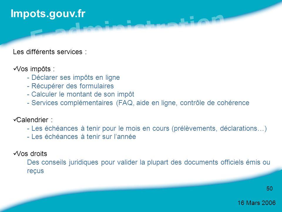 Impots.gouv.fr Les différents services : Vos impôts :