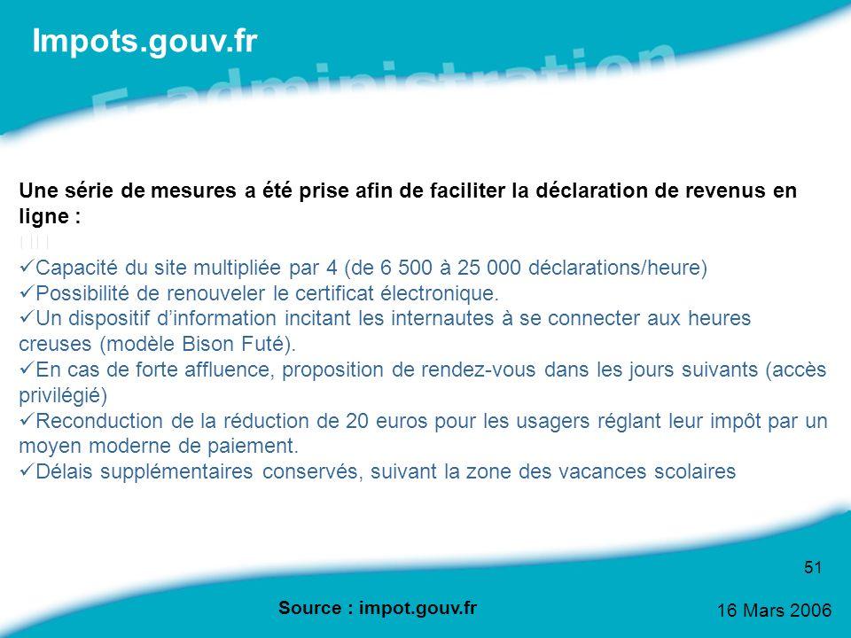 Impots.gouv.fr Une série de mesures a été prise afin de faciliter la déclaration de revenus en ligne :
