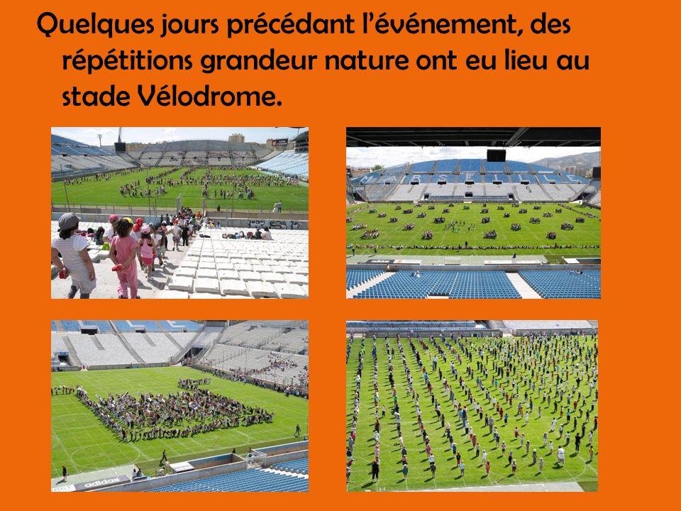 Quelques jours précédant l'événement, des répétitions grandeur nature ont eu lieu au stade Vélodrome.