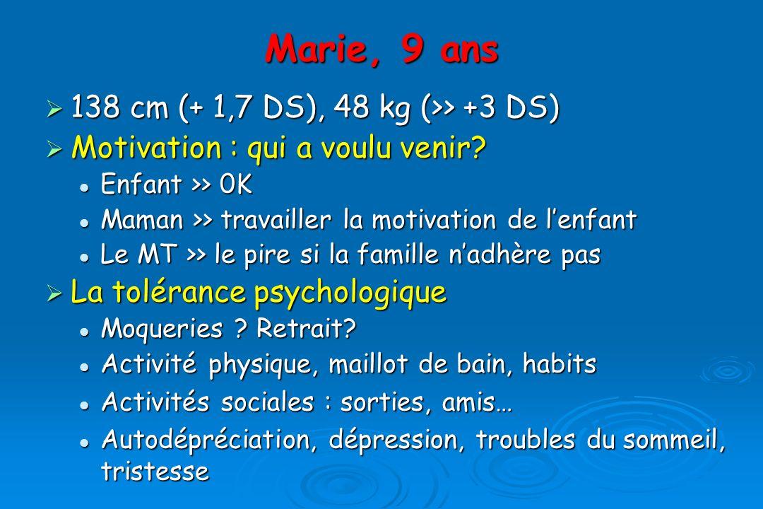 Marie, 9 ans 138 cm (+ 1,7 DS), 48 kg (>> +3 DS)