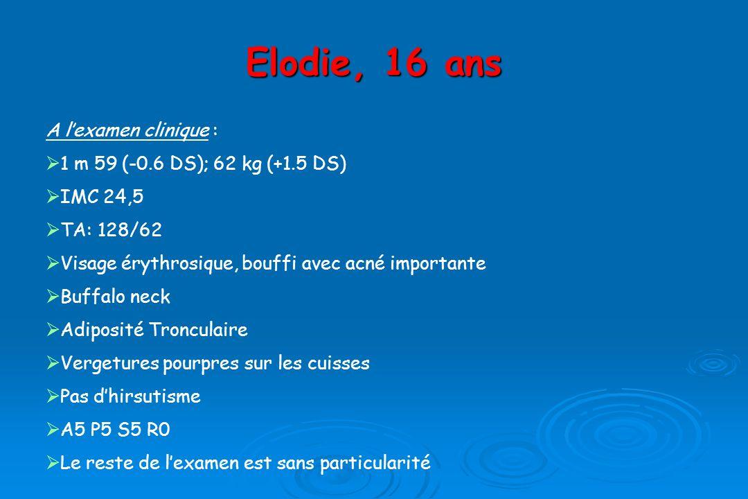 Elodie, 16 ans A l'examen clinique : 1 m 59 (-0.6 DS); 62 kg (+1.5 DS)