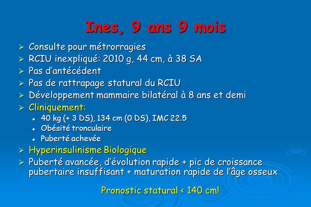 Ines, 9 ans 9 mois Consulte pour métrorragies