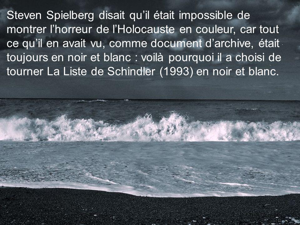 Steven Spielberg disait qu'il était impossible de montrer l'horreur de l'Holocauste en couleur, car tout ce qu'il en avait vu, comme document d'archive, était toujours en noir et blanc : voilà pourquoi il a choisi de tourner La Liste de Schindler (1993) en noir et blanc.
