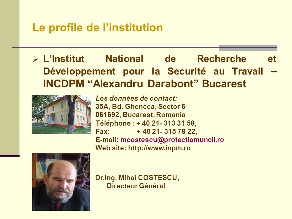Le profile de l'institution
