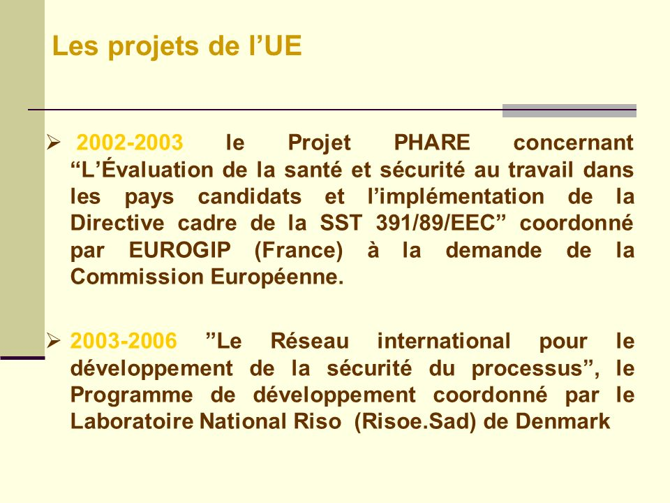 Les projets de l'UE