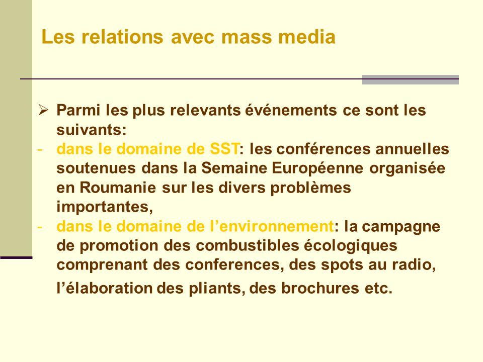 Les relations avec mass media