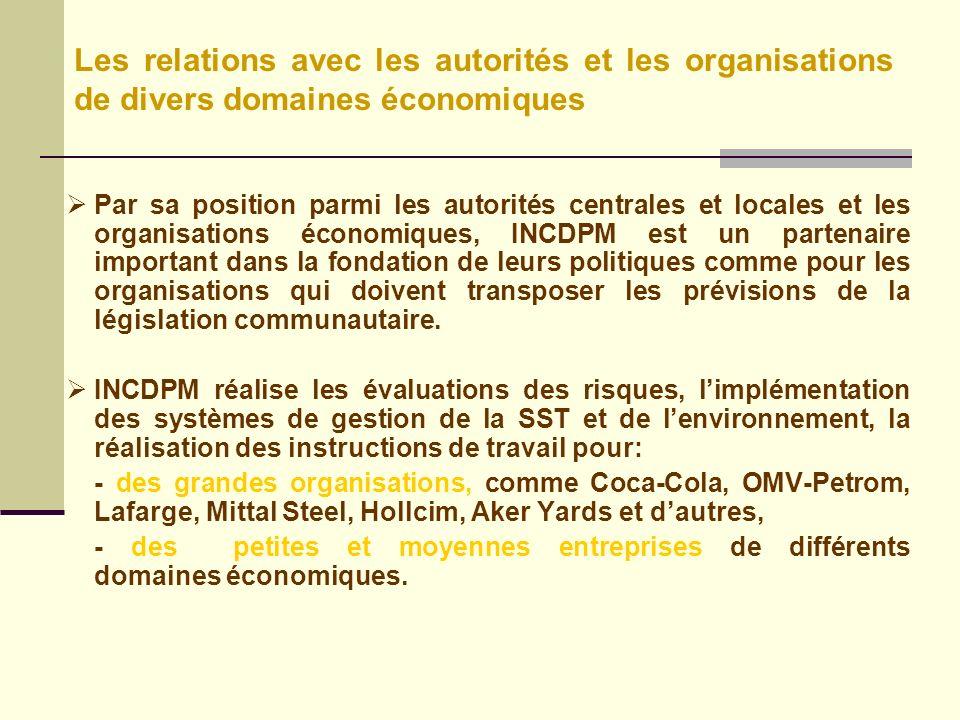 Les relations avec les autorités et les organisations de divers domaines économiques