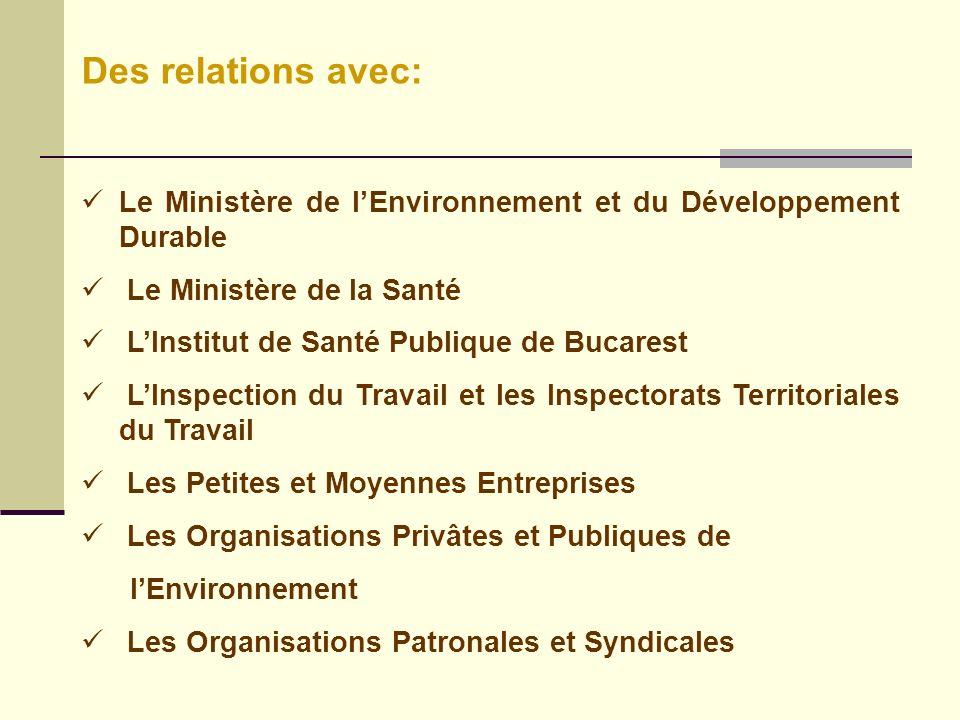 Des relations avec: Le Ministère de l'Environnement et du Développement Durable. Le Ministère de la Santé.