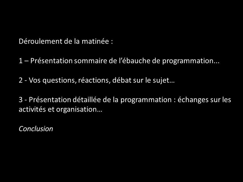 Déroulement de la matinée : 1 – Présentation sommaire de l'ébauche de programmation...