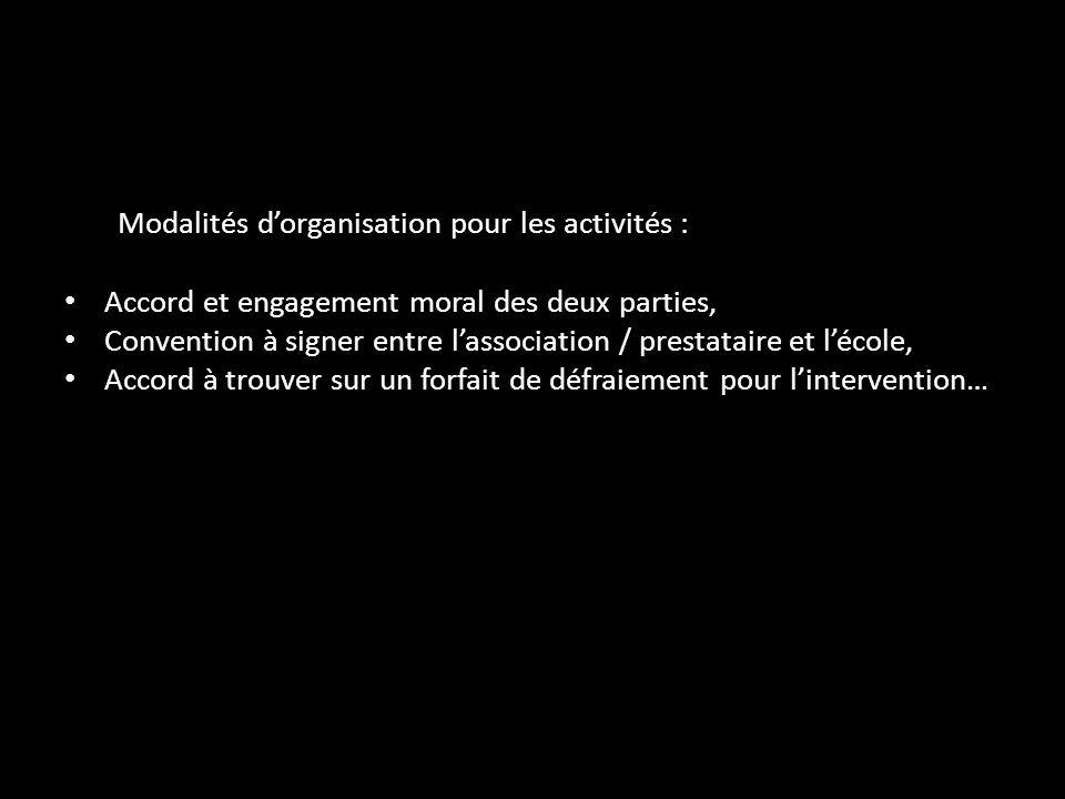 Modalités d'organisation pour les activités :