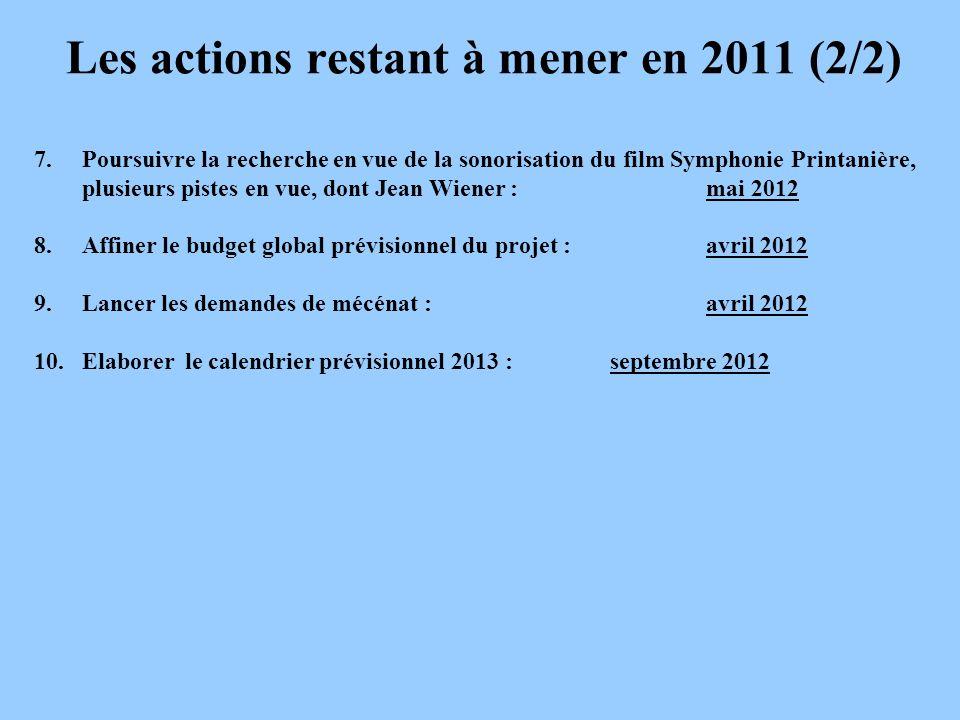 Les actions restant à mener en 2011 (2/2)
