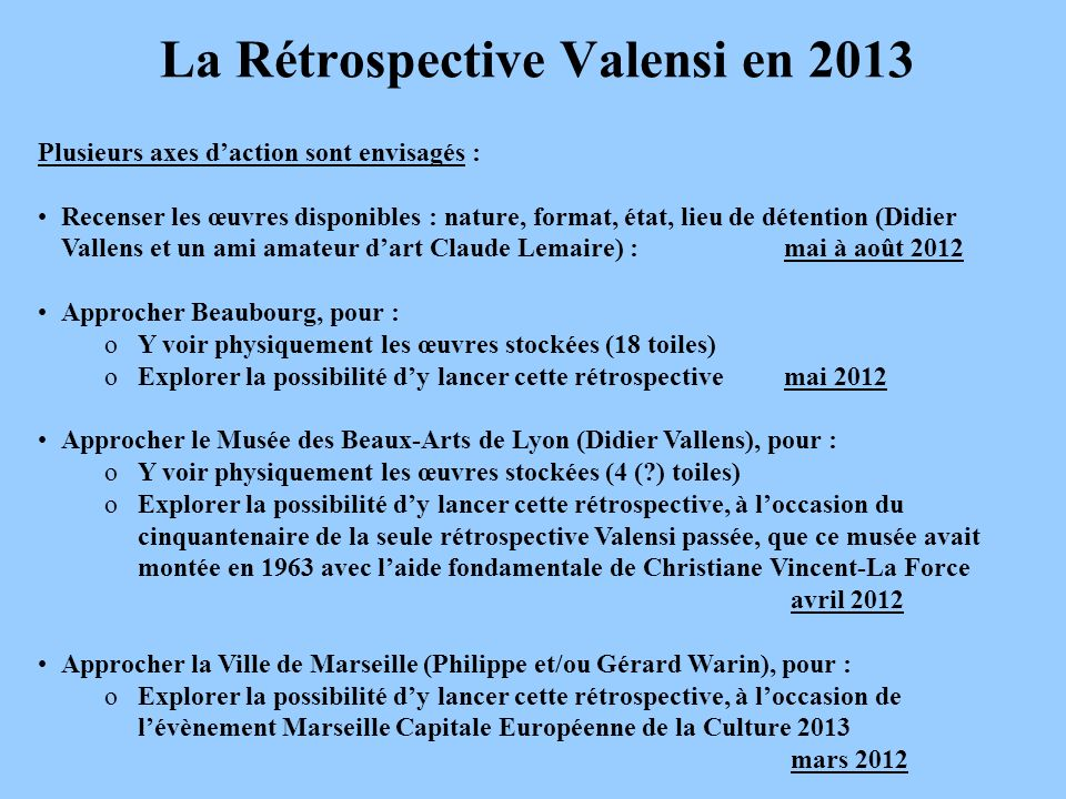 La Rétrospective Valensi en 2013