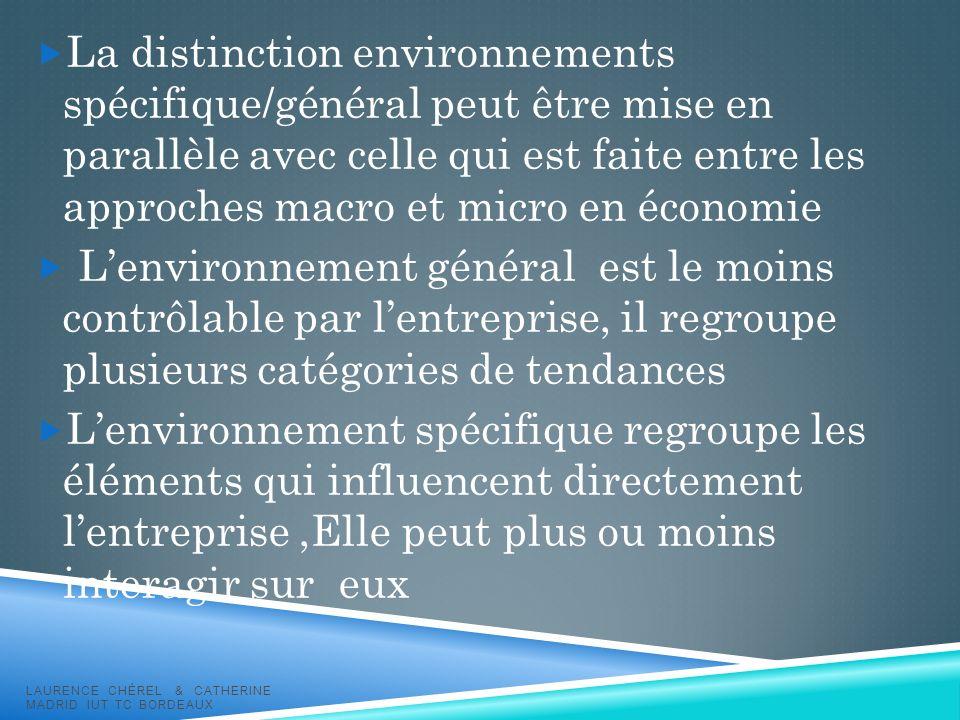La distinction environnements spécifique/général peut être mise en parallèle avec celle qui est faite entre les approches macro et micro en économie